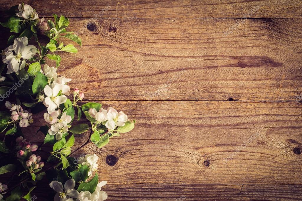 Wooden Background And Blossoms Beautiful Photo For Post Cards Gift Etc Rustic Apple Copy Space Text