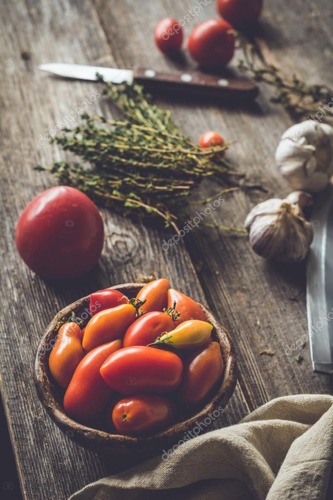 Heirloom tomatoes on rustic wooden table