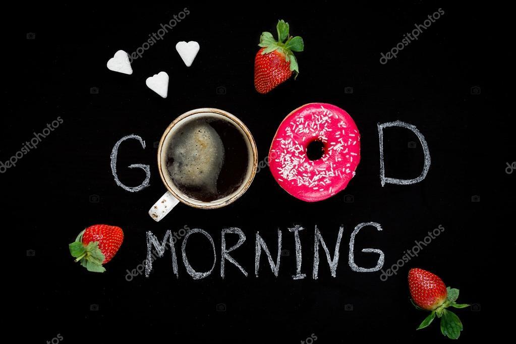 Guten Morgen Gruß Urlaub Frühstück Stockfoto