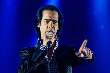 Nick Cave performing at Sziget music festival, Budapest