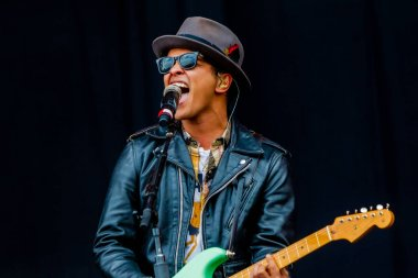 Bruno Mars performing at Rock Werchter music festival