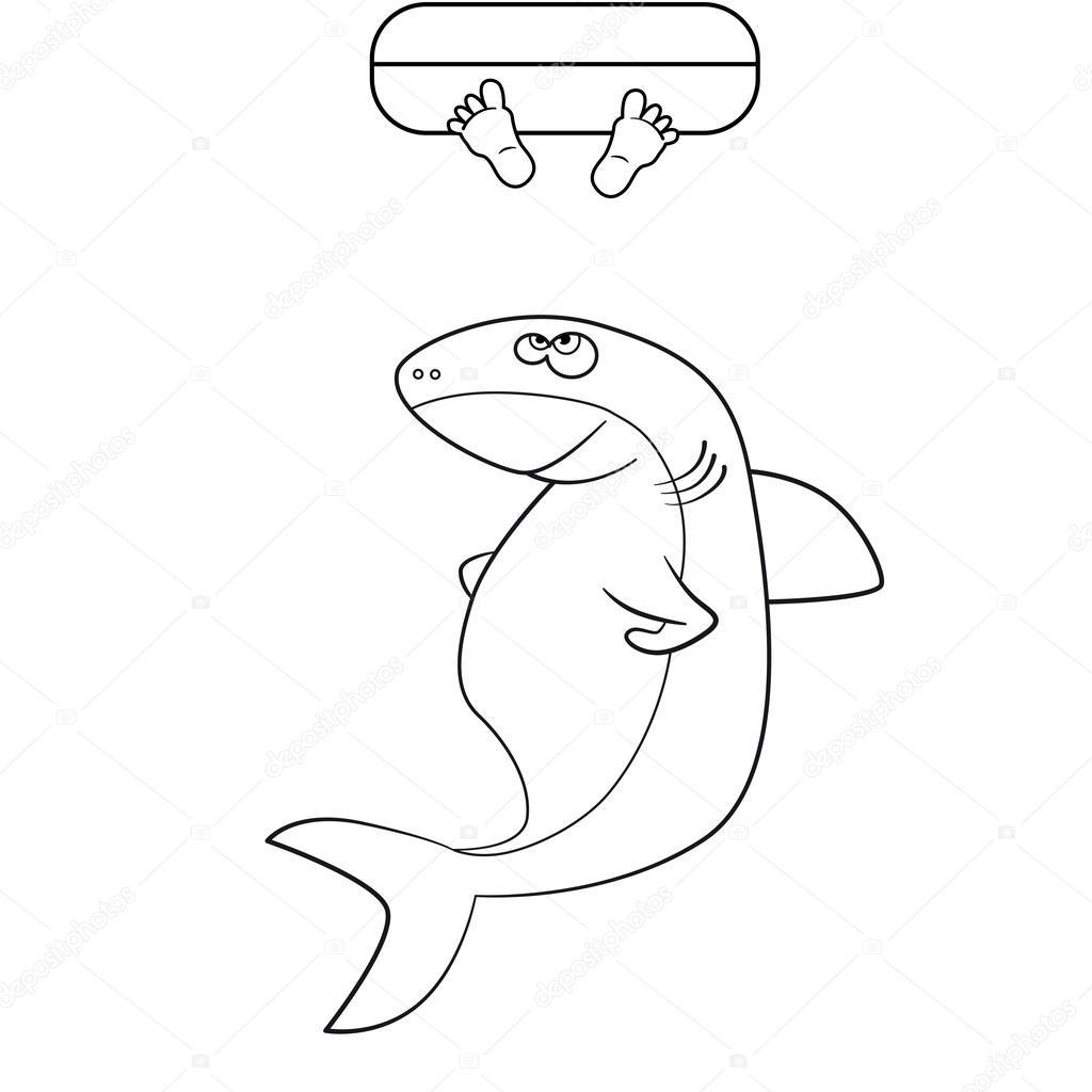 Libro de colorear. Piernas del hombre y el tiburón en el océano ...