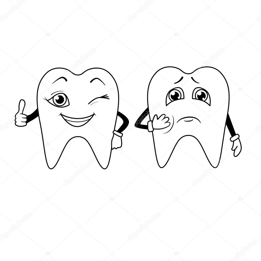 Coloring Book Cartoon Of Sad And Happy Teeth Stock Vector