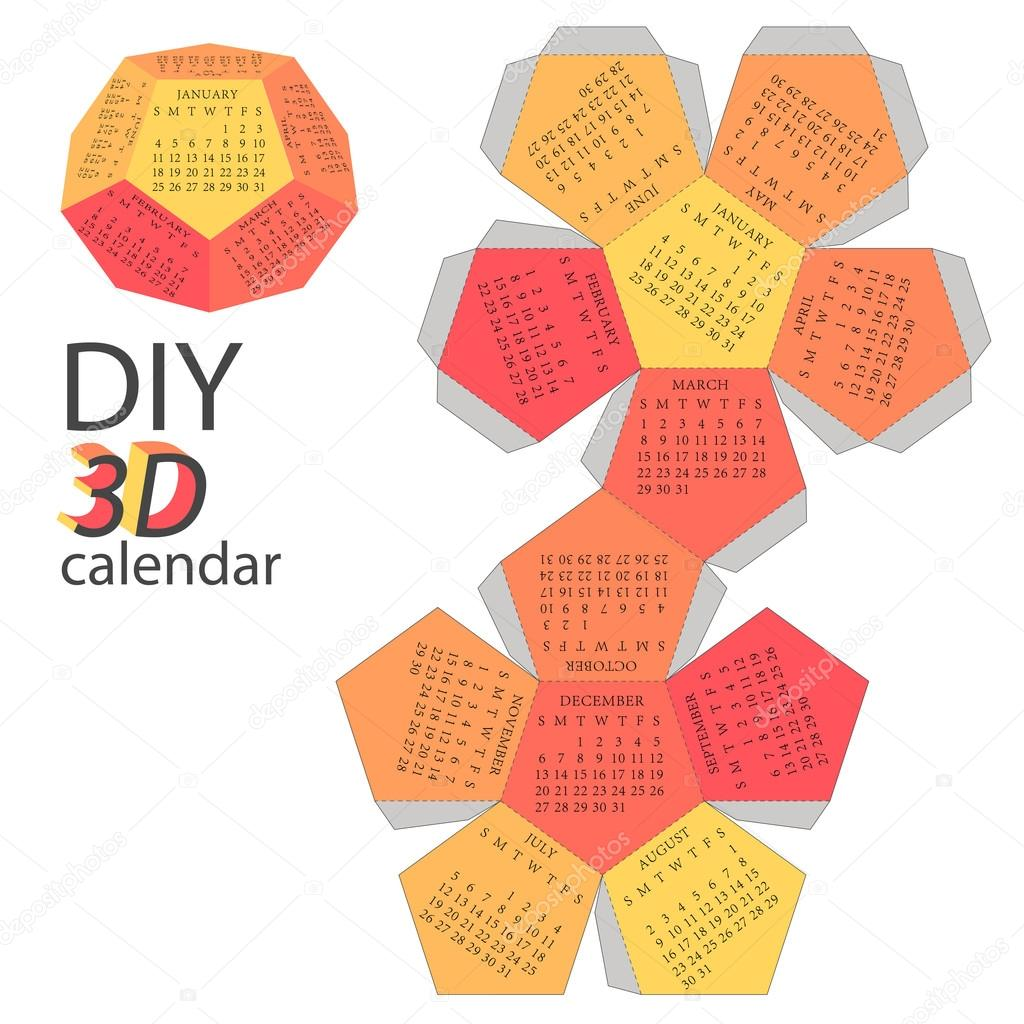 Scheme of 3d calendar do it yourself diy stock vector scheme of 3d calendar do it yourself diy stock vector solutioingenieria Gallery