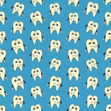 Seamless colorful background made of cartoons of sad teeth
