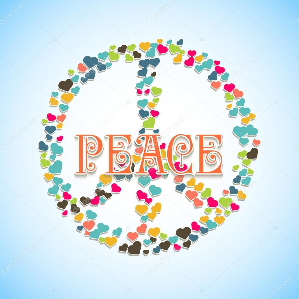 Image With Peace Sign Filled Hearts And Text In The Middle Stock