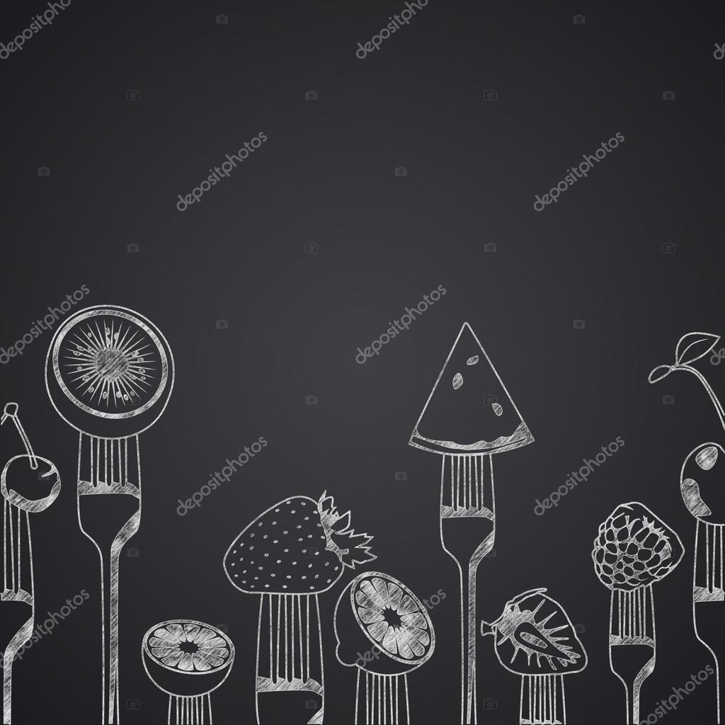 Fruits on forks drawn on chalkboard