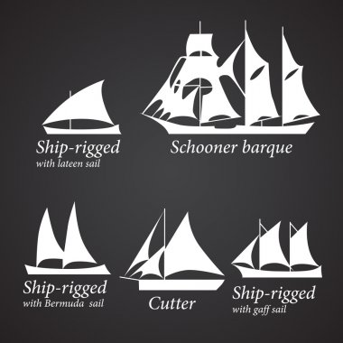 Silhouettes of different Ships in white color. Part 1