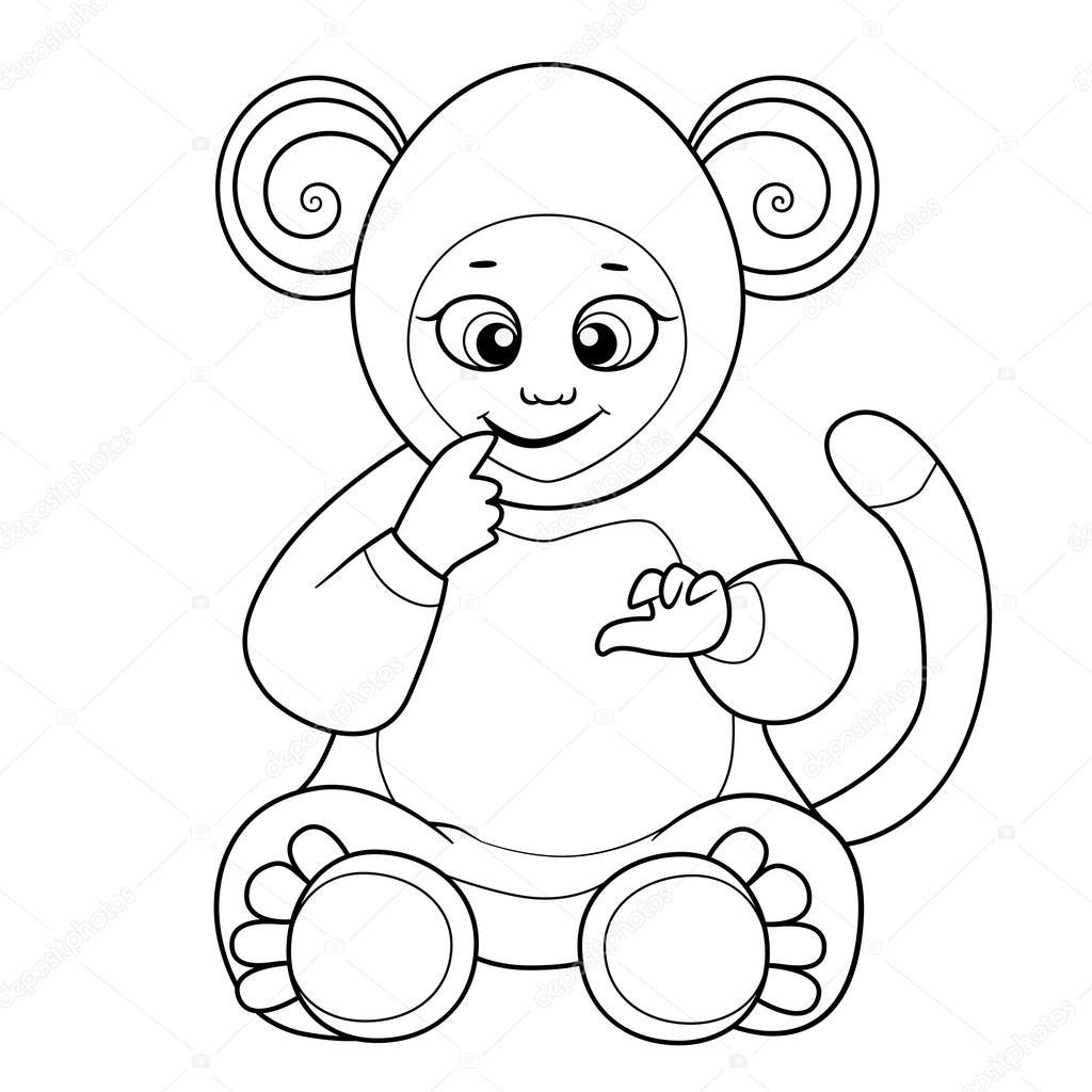 Libro para colorear con lindo bebé vestido como mono — Vector de ...