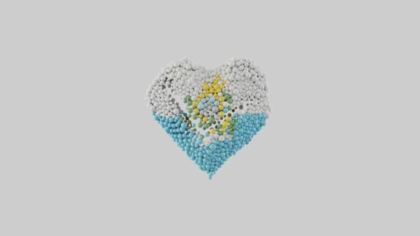 San Marino National Day. Republic Day. September 3. Heart shape made out of shiny spheres animation. Heart animation with alpha matte. 3D rendering.