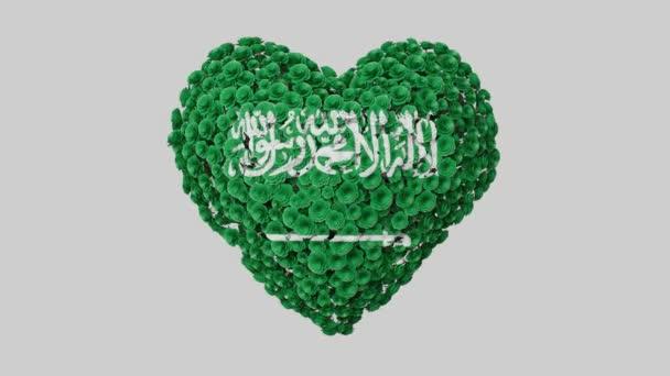 Národní den Saúdské Arábie. 23. září. Srdeční animace s alfa matnou. Květiny vytvářejí tvar srdce. 3D vykreslování.