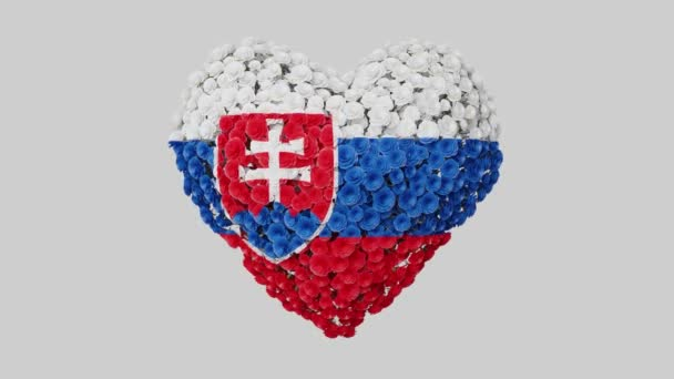 Slovakia. National Day. 1 January. Heart animation with alpha matte. Flowers forming heart shape. 3D rendering.