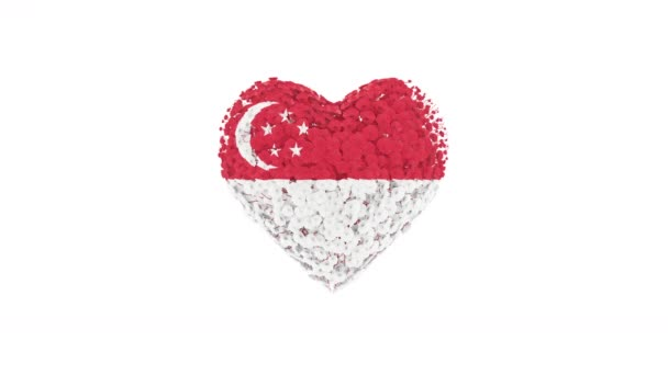 Singapore. National Day. August 9. Heart animation with alpha matte. Flowers forming heart shape. 3D rendering.