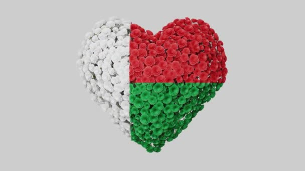 Madagascar National Day. June 26. Independence Day. Heart animation with alpha matte. Flowers forming heart shape. 3D rendering.
