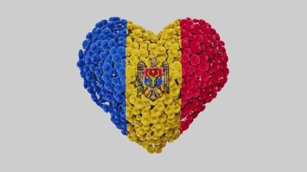 Moldova National Day. August 27. Statehood Day. Heart animation with alpha matte. Flowers forming heart shape. 3D rendering.