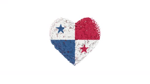 Panama National. Independence Day. Heart animation with alpha matte. Flowers forming heart shape. 3D rendering.