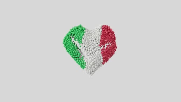 Italy National Day. June 2. Republic Day. Heart animation with alpha matte. Heart shape made out of shiny spheres animation. 3D rendering.