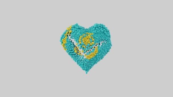 Kazachstánský národní den. 16. prosince. Den nezávislosti. Srdeční animace s alfa matnou. Tvar srdce z nablýskaných koulí. 3D vykreslování.