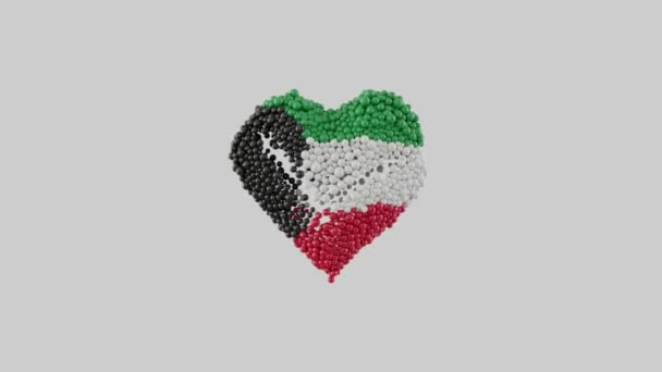 Kuwait National Day. February 25. Heart animation with alpha matte. Heart shape made out of shiny spheres animation. 3D rendering.