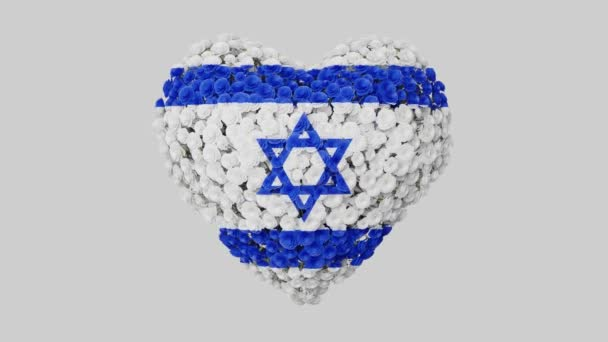 Israel National Day. Independence Day. Heart animation with alpha matte. Flowers forming heart shape. 3D rendering.