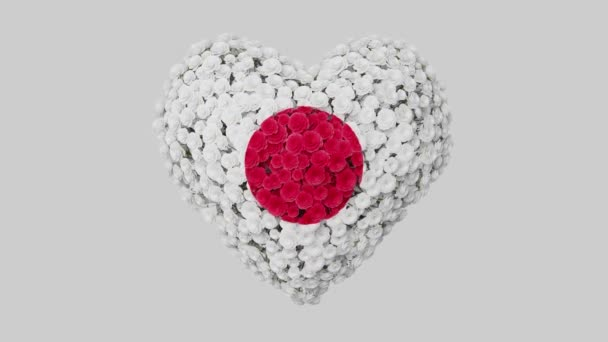 Japan National Day. February 11. Heart animation with alpha matte. Flowers forming heart shape. 3D rendering.