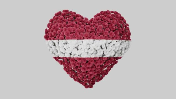 Latvia National Day. November 18. Heart animation with alpha matte. Flowers forming heart shape. 3D rendering.