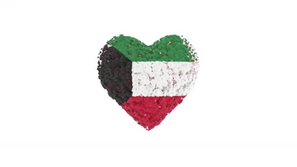 Kuwait National Day. February 25. Heart animation with alpha matte. Flowers forming heart shape. 3D rendering.