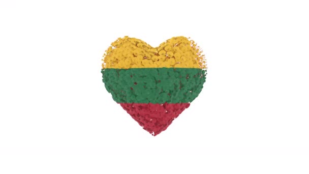 Lithuania National Day. Independence day. February 16. Heart animation with alpha matte. Flowers forming heart shape. 3D rendering.