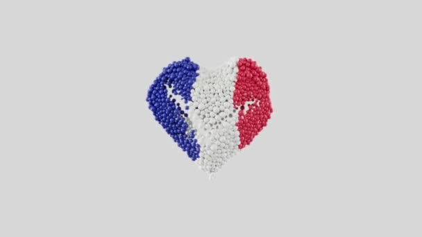 France National Day. July 14. Bastille Day. Heart animation with alpha matte. Heart shape made out of shiny spheres animation. 3D rendering.