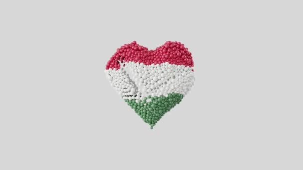 Hungary National Day. March 15. Revolution and Independence Day. Heart animation with alpha matte. Heart shape made out of shiny spheres animation. 3D rendering.