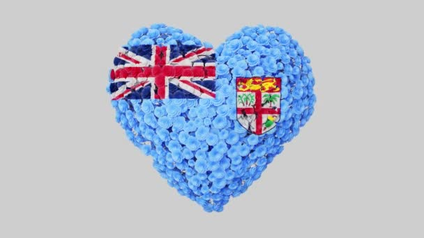 Fiji National Day. Independence Day. October 10. Heart animation with alpha matte. Flowers forming heart shape. 3D rendering.