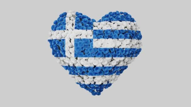 Greece National Day. March 25. Independence Day. Heart animation with alpha matte. Flowers forming heart shape. 3D rendering.