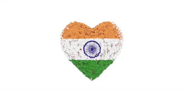India National Day. August 15. Independence Day. Heart animation with alpha matte. Flowers forming heart shape. 3D rendering.
