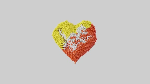 Bhutan National Day. Heart shape made out of shiny spheres animation. Heart animation with alpha matte. 3D rendering.