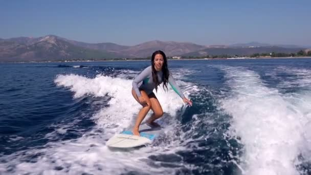 Female surfer in action