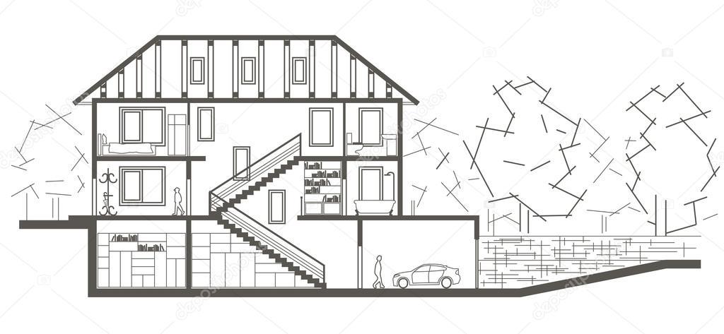 Linearni Architektonicke Skici Urovni Garaze Vykresu Rezu Stock