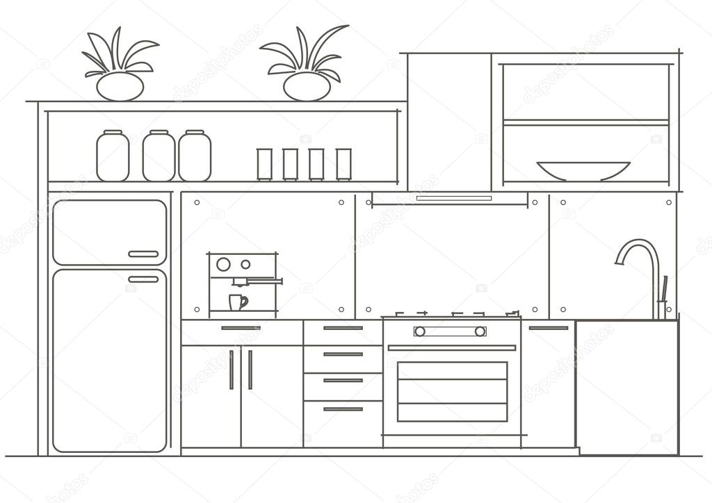 Architectural Linear Sketch Interior Small Kitchen Front