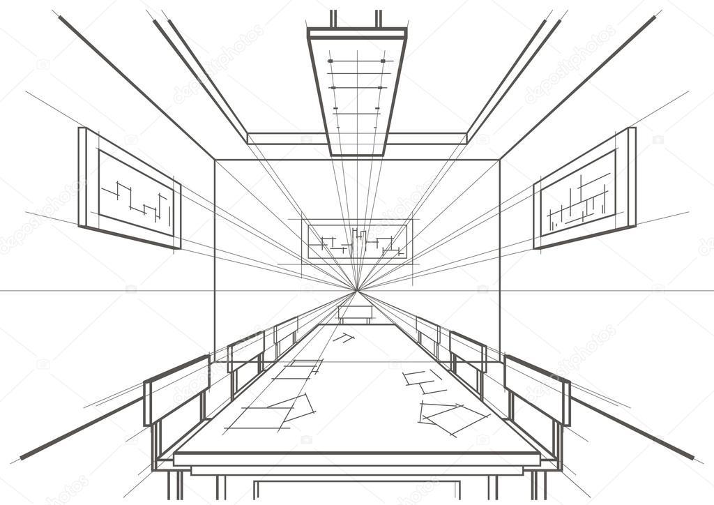 Dibujo Arquitect 243 Nico Lineal Interior Sala Vector De
