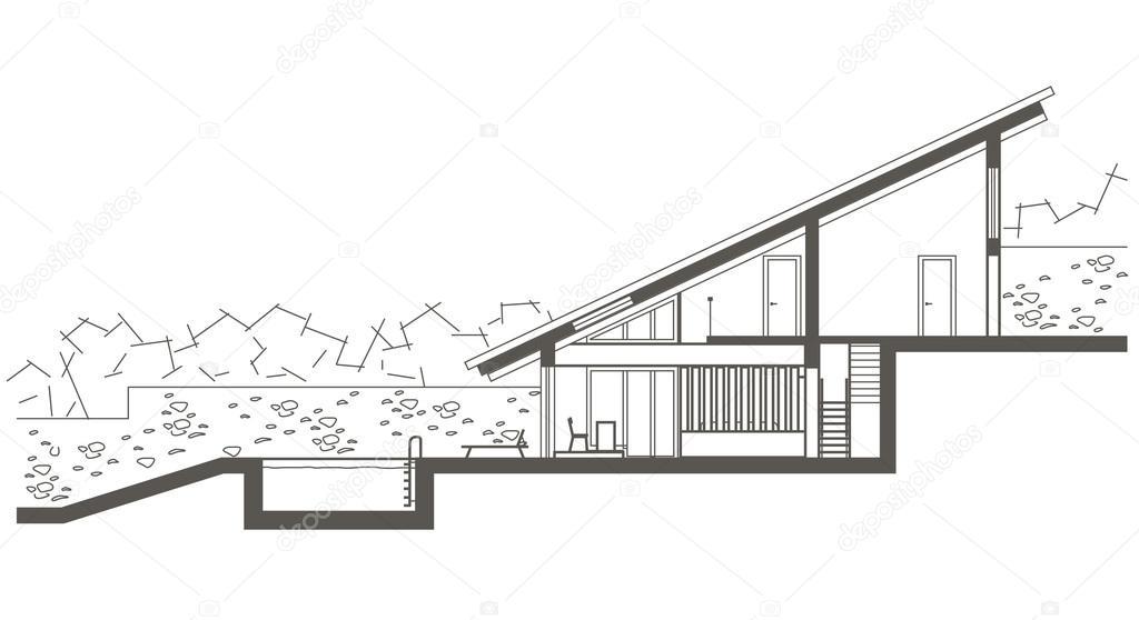 Schnittzeichnung Haus architektonische lineare skizze zwei ebene haus mit schwimmbad