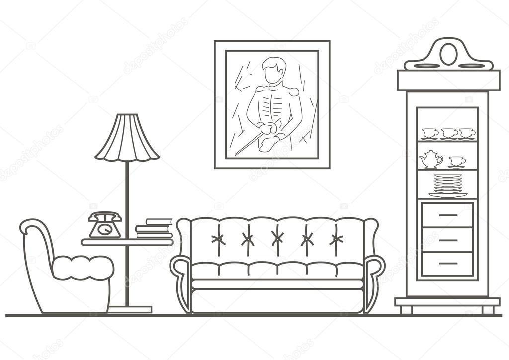 Vista frontal del sal n de dibujo arquitect nico lineal for Comedor para dibujar