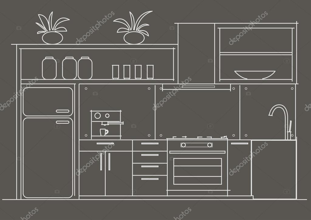 Vue de face intérieure petite cuisine architecturale croquis ...