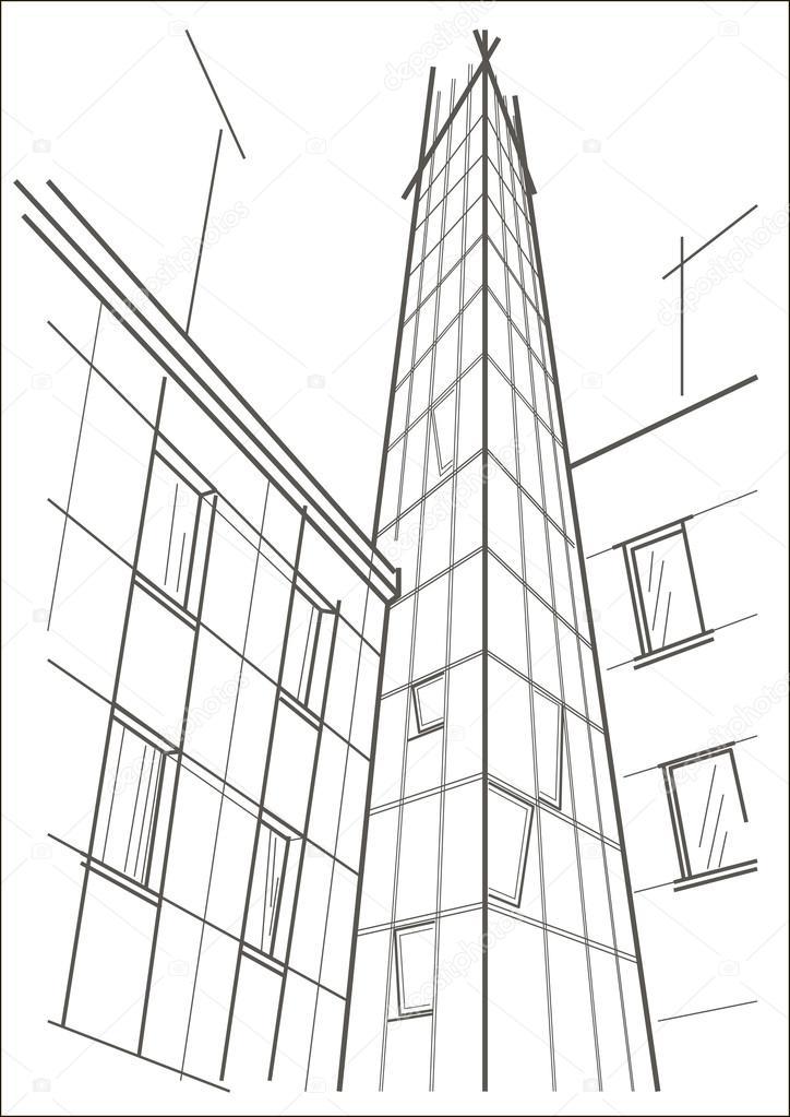 Lineare Architektonische Skizze Des Hochhaus Turm Stockvektor