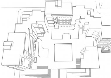 architectural sketch multistory building top view
