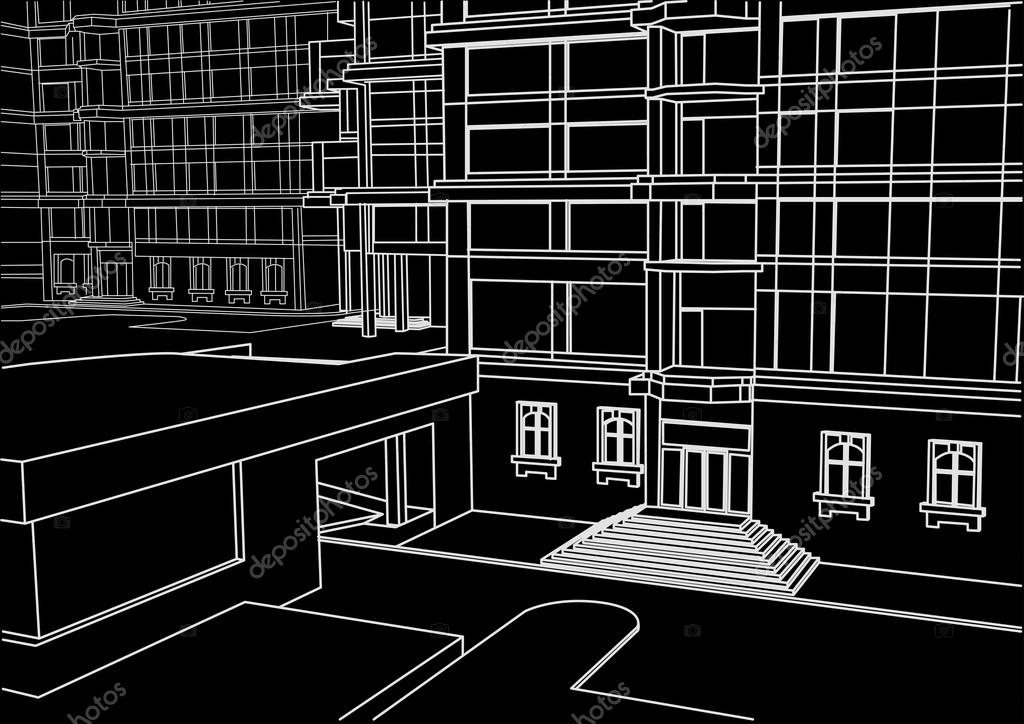 architectural linear sketch of building in few levels black background