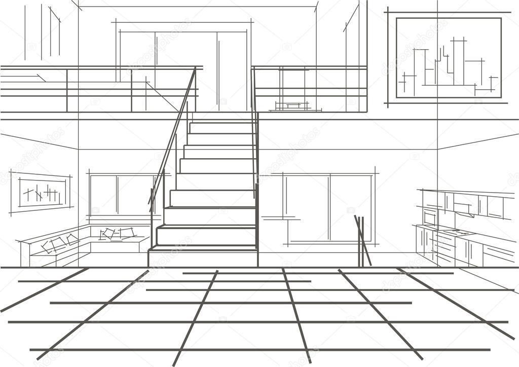 De Un Dibujo Piso Niveles En Lineal Moderna Árbol Interior mnwvON80