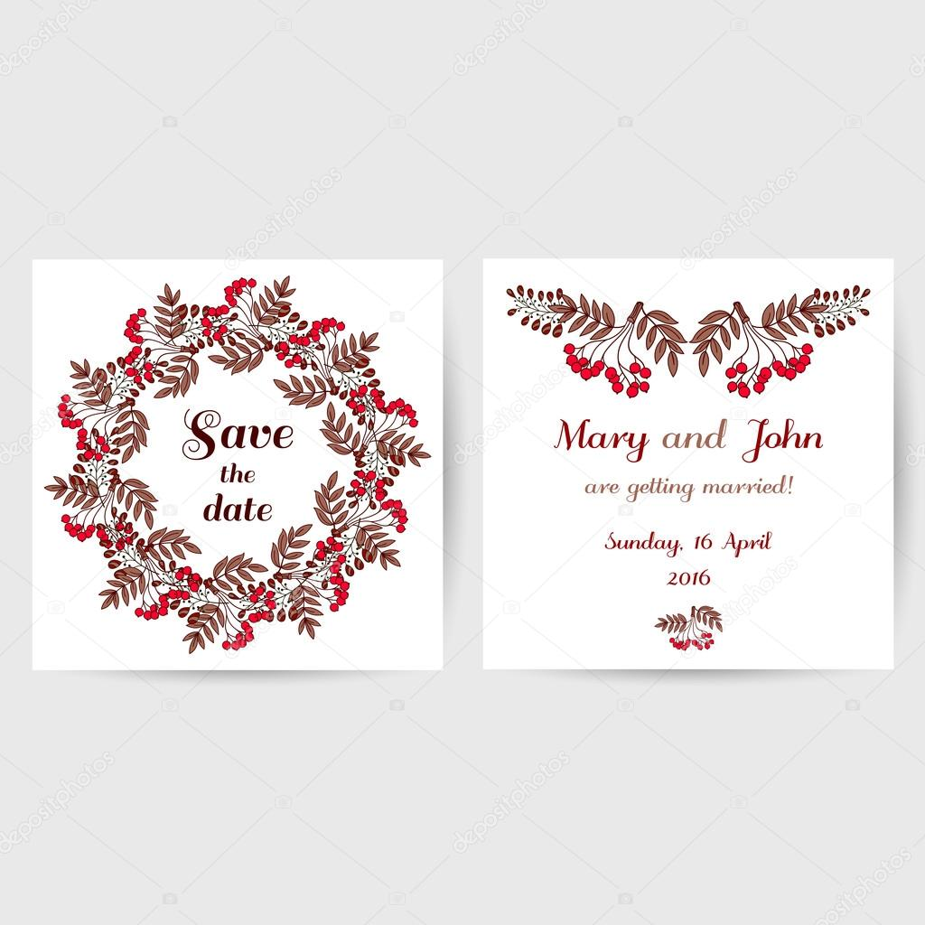Hochzeit Postkarte mit roten Beeren — Stockvektor © your-solution ...