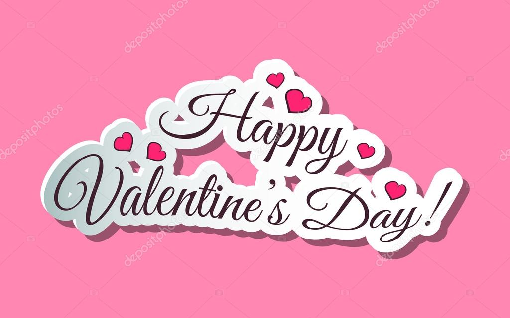 Happy Valentines Day Words Pink Stock Vector C Your Solution 95787036