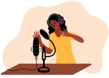 Woman is doing live podcast. Female podcaster talking to microphone recording voice in studio. Vector illustration in flat style. icon