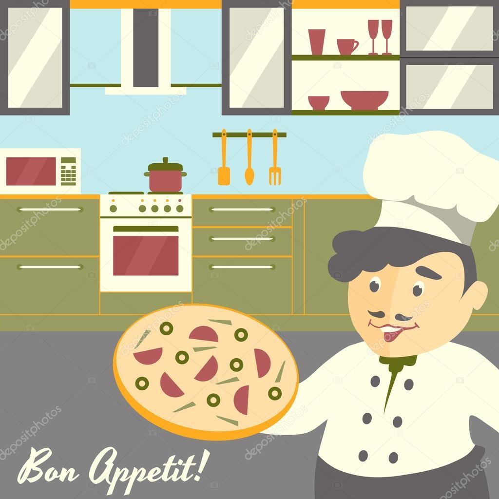 Ilustración de jefe de cocina de pizza con fondo interior de la ...