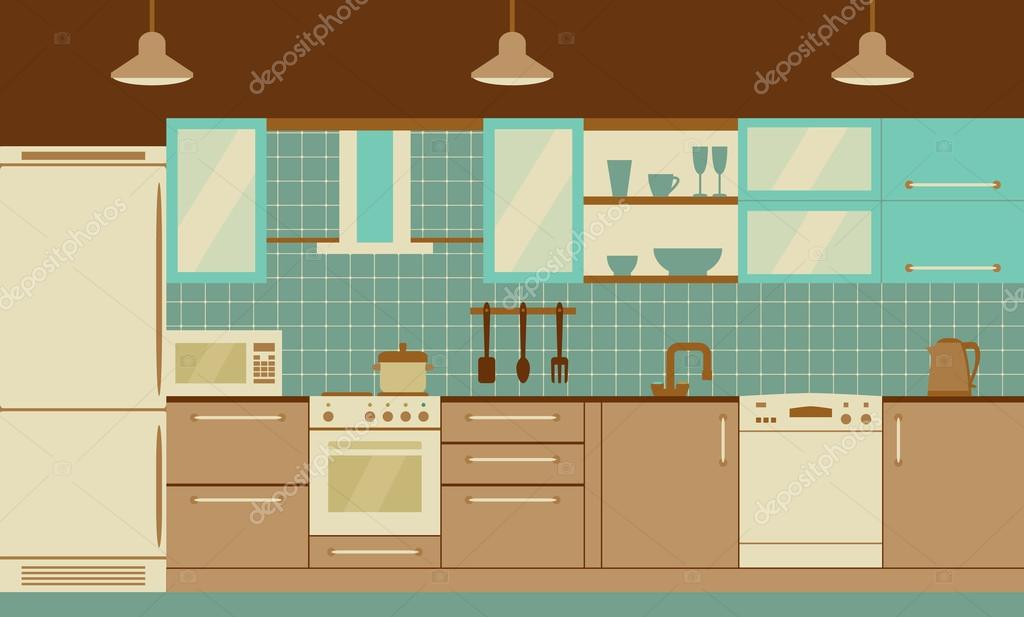 Kitchen Interior Flat Design With Home Furniture And Kithenware